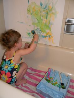 Oh my gosh! My little graffiti artist would love painting in the tub! 10 Rainy Day Activities for Kids.