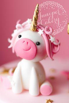 Adorable pink fondant unicorn by Juniper Cakery Fondant Toppers, Fondant Cakes, Cupcake Cakes, Fondant Recipes, Kid Cakes, Unicorn Birthday, Unicorn Party, Birthday Kids, Unicorn Cake Topper