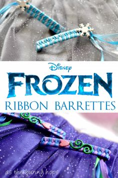 FROZEN Inspired Style Ribbon Barrettes – As The Bunny Hops® Why yes, these inspired Frozen ribbon barrettes are sure to make ribbon barrettes the hottest accessory ever. Can we make these a thing again? Hair Ribbons, Diy Hair Bows, Disney Diy, Disney Crafts, Disney Bows, Diy Ribbon, Ribbon Crafts, Paper Crafts, Ribbon Barrettes