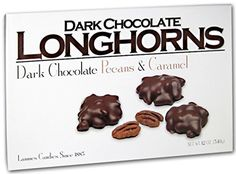 Lammes Candies Dark Chocolate Longhorns - Dark Chocolate Pecans & Caramel, 12 Oz. LAMMES
