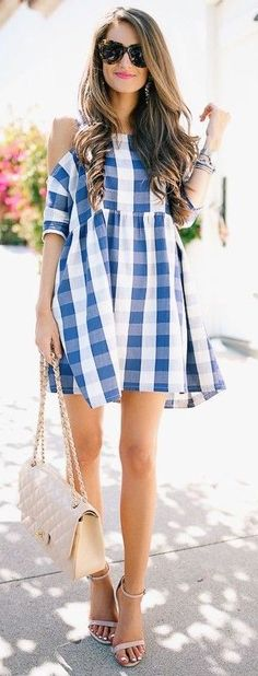 #summer #trending #fashion | Blue and White Gingham Off The Shoulder Dress