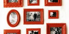 kräftige Farbe rot Fotorahmen schwarz weiße Fotos