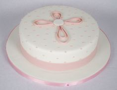 """https://flic.kr/p/bjXKE2   D7009 - pink baptism cake toronto   A 10"""" round white fondant covered cake with pale pink accents. Perfect for a baptism, christening, first communion or confirmation. Created by www.fortheloveofcake.ca in Toronto"""