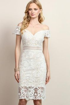 Sporting this white sheath dress is your first big score of the night, and each compliment directed at its lace overlay will bring you closer to a complete fashion win! Alluringly featuring an off sho