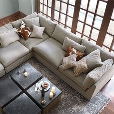Arhaus Pavo Three Piece Upholstered Left Sectional In Vale Platinum