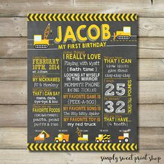 Construction First Birthday Poster by SimplySweetPrintShop on Etsy