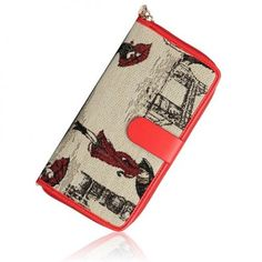 Retro Women's Wallet With Zipper and Drawing Design red blue http://www.irockbags.com/retro-womens-wallet-with-zipper-and-drawing-design-red-blue