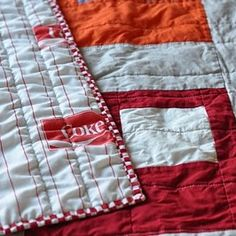 modern quilt with vintage coca cola sheet backing