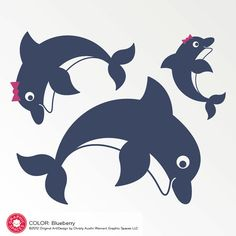 Dolphin Family Wall Decals Kids Beach Ocean by graphicspaces