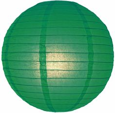 "12"" Dark Green Round Paper Lantern, Even Ribbing, Hanging (Light Not Included)"