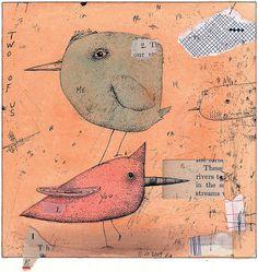 Philip Kirk.....5 X 5 ink, collage #bird