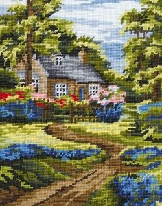Anchor Spring Scene Needlepoint Tapestry Kit in Crafts, Tapestry & Needlepoint, Kits Cross Stitch House, Cross Stitch Kits, Counted Cross Stitch Patterns, Cross Stitch Charts, Embroidery Art, Cross Stitch Embroidery, Spring Scene, Spring Summer, Tapestry Kits