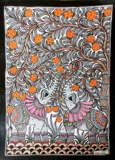 Traditional Paintings, Traditional Art, Kalamkari Painting, New Rangoli Designs, Madhubani Art, Indian Folk Art, Madhubani Painting, Beautiful Paintings, Art And Architecture