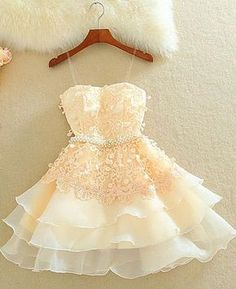 Champagne Homecoming Dresses, Short Homecoming Dresses, Short Cute Lace Homecoming Dresses For Girls, from Oktypes · HotProm · Online Store Powered by Storenvy Champagne Homecoming Dresses, Lace Homecoming Dresses, Hoco Dresses, Dance Dresses, Evening Dresses, Dress Prom, Party Dress, Prom Gowns, Ball Dresses