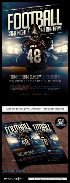 Football Game Night Flyer Template PSD   Buy and Download: http://graphicriver.net/item/football-game-night-flyer-template-psd/8835743?WT.ac=category_thumb&WT.z_author=INDUSTRYKIDZ&ref=ksioks