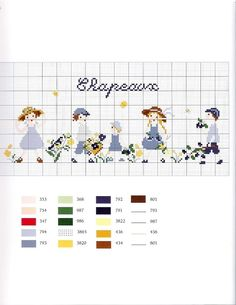 0 0 point de croix grille et couleurs de fils enfants, été et chapeaux de paille