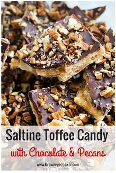Saltine Toffee Candy with Chocolate & Pecans - An easy recipe and perfect for holidays!   browneyedbaker.com