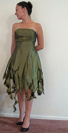 Woodland Fairy Dress, An Upcycled, Strapless, Green Elven or Tinkerbell Halloween costume.