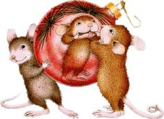 Silly House Mouse mice at Christmas time