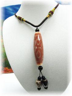 Dzi Necklace Dzi Pendant Dzi Beads Mala Necklace Boho Necklace Stone Necklace Fengshui Necklace Tibetan Dzi Necklace Dzi Stone Choker