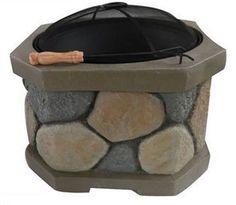 Stone Fire Pit Outdoor Patio Heater Wood Burning Yard Fireplace Garden Yard Deck