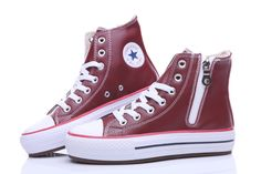13f24ed1c0a6 Converse Red Leather Platform High Tops All Star Womens Shoes Converse  Chuck Taylor All Star