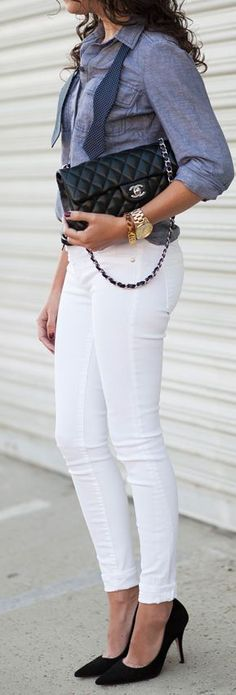 Lovely white skinnies and pumps