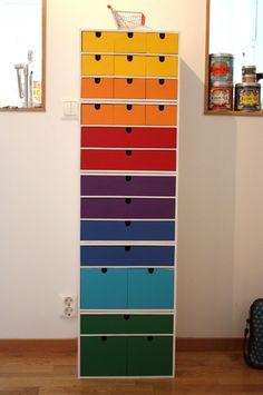 "Rainbow painted ""Moppe"" from Ikea. paint white ikea furniture in rainbow colors! Organisation Ikea, Home Organization, Sticker Organization, Organizing Ideas, Craft Room Storage, Locker Storage, Ikea Storage, Yarn Storage, Storage Units"