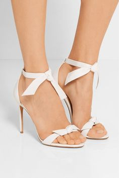 Heel measures approximately 100mm/ 4 inches White leather Ties at ankle  Made in Italy