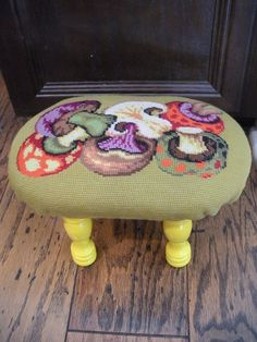 'how to' tutorial on the needlepoint foot stool.