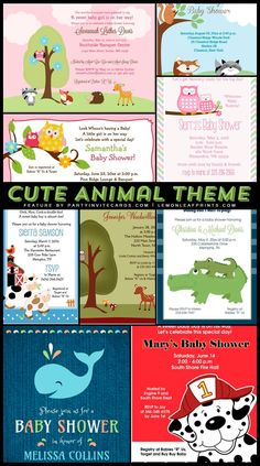 Adorable Animals Baby Shower Invitations - customizable to your special day -  @lemonleafprints | via #partyinvitecards