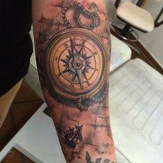 #tattoo #tattoos #tattooart #tattooartist #tätowierung #ink #inked #compass #compasstattoo #map #maptattoo #colourtattoo #sail