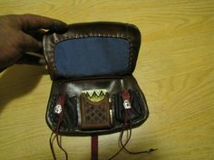 Fancy brown medieval Kidney belt pouch with faux ivory wax tablet.