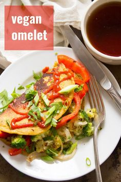 This omelet is made from beans! That's right — it's totally vegan! Chickpea flour whips up to make the batter for this egg-free and dairy-free omelet, but the real magic is black salt, which gives it a surprising and amazingly realistic eggy flavor. #veganrecipes #veganomelet #chickpeaflour #veganbreakfast