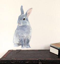 Bunny Wall Decal, Woodland Fabric Wall Sticker (Not Vinyl) - Mini on Etsy, $23.00