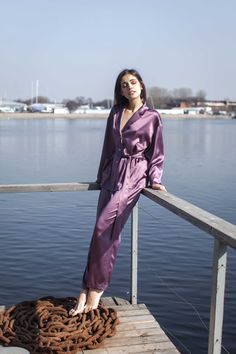 Shine bright . Stay refreshed. Silk Pajama Powder Plum from Ruby Robe loungewear collection | shop at www.rubyrobe.com #silk #pajama #loungewear #style #effortlesschic