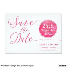 Watercolor Script Pink 5x7 Paper Invitation Card