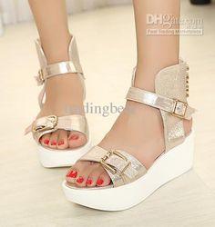 Best Sandals Street Fashion Gold Rivets Platform Low Heels Ladies Flat Gladiator Sandal Shoes Online with $40.48/Pair   DHgate