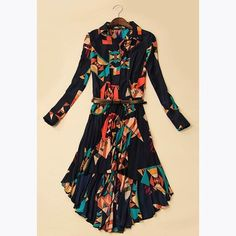 Long Sleeves Chiffon Lapel Collar Floral Print Retro Style Women's Dress