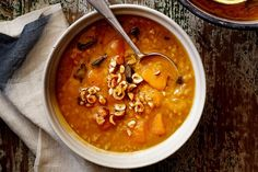 For a meal the whole family will enjoy try this classic pumpkin and barley soup topped with crushed hazelnuts.