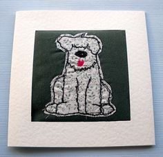 stitched card  greeting card  birthday card  by itsaMessyNest, £3.25