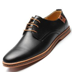Big Size Men Pure Color Lace Up European British Style Flat Casual Oxford Shoes Online - NewChic Mobile.