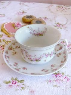 Charming Bavaria Pink Rose Teacup and Saucer