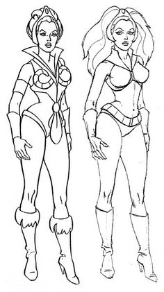 Coloring page Teela vs Aura from Flash Gordon