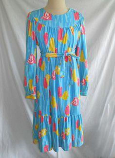 Vintage The Lilly Pulitzer Maxi Dress Deadstock Shift Long Sleeve Ruffle Belt S | eBay