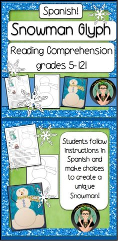 Spanish Snowman Glyph, Spanish Reading Comprehension for Middle School and High School students!  La Profesora Frida, Winter Vocabulary, Dictionary Activity, Fun Stuff for Spanish Classes, TeachersPayTeachers
