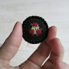 Red Rose Brooch Floral Embroidered Brooch Gift For Her Gift