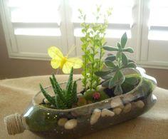 Terrarium recycling plastic bottle / terranium in a recycled plastic bottle. Reuse Plastic Bottles, Plastic Bottle Crafts, Recycled Bottles, Plastic Bottle Planter, Plastic Recycling, Garden Crafts, Garden Projects, Garden Art, Flower Vases