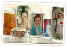 Amazing idea for displaying photos!  Love the glass jar idea!!  #photo #frame #display #jar