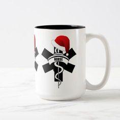 Christmas Nurse Holidays Two-Tone Coffee Mug - Xmas ChristmasEve Christmas Eve Christmas merry xmas family kids gifts holidays Santa